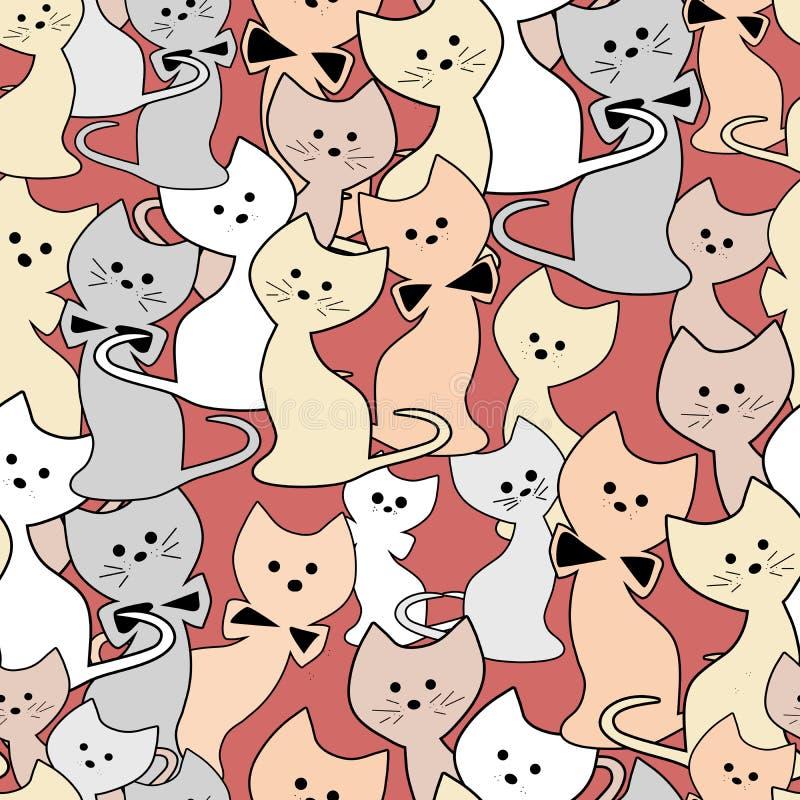 猫无缝的逗人喜爱的样式 向量例证