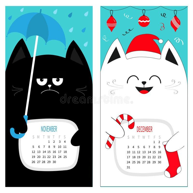 猫日历2017年 逗人喜爱的滑稽的动画片字符集 11月12月秋天冬季 垂悬我的雨伞圣诞老人红色帽子 向量例证