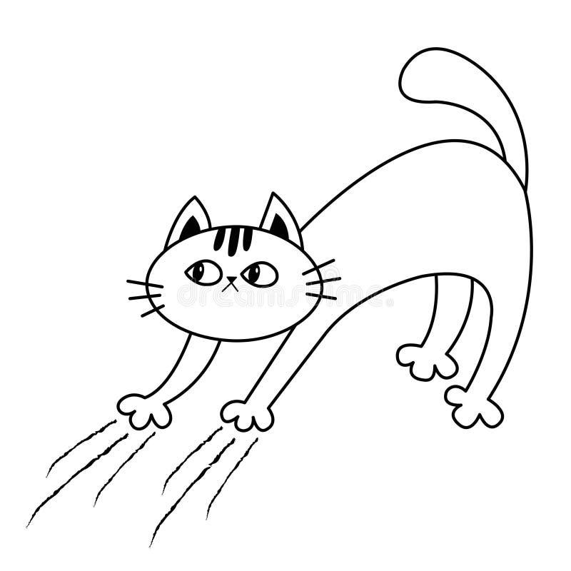 猫曲拱后面 小猫抓 抓痕轨道 乱画线性剪影 黑等高剪影 逗人喜爱的滑稽的漫画人物 皇族释放例证