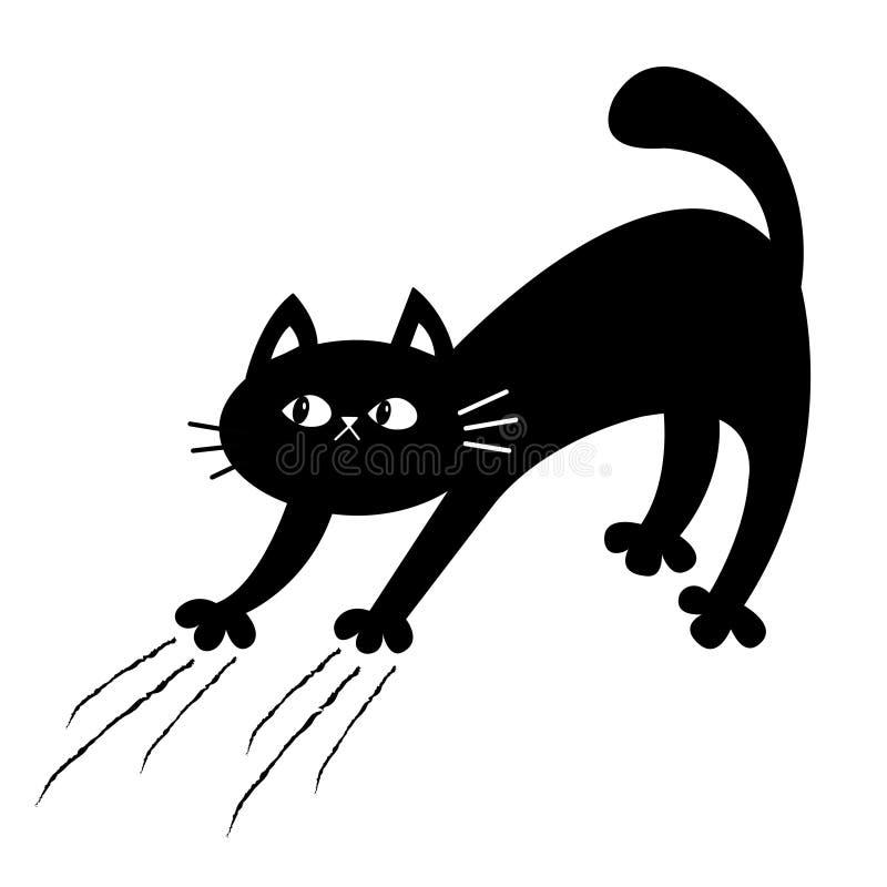 猫曲拱 小猫抓 抓痕轨道 乱画剪影 o 逗人喜爱的滑稽的卡通人物 ?? 向量例证