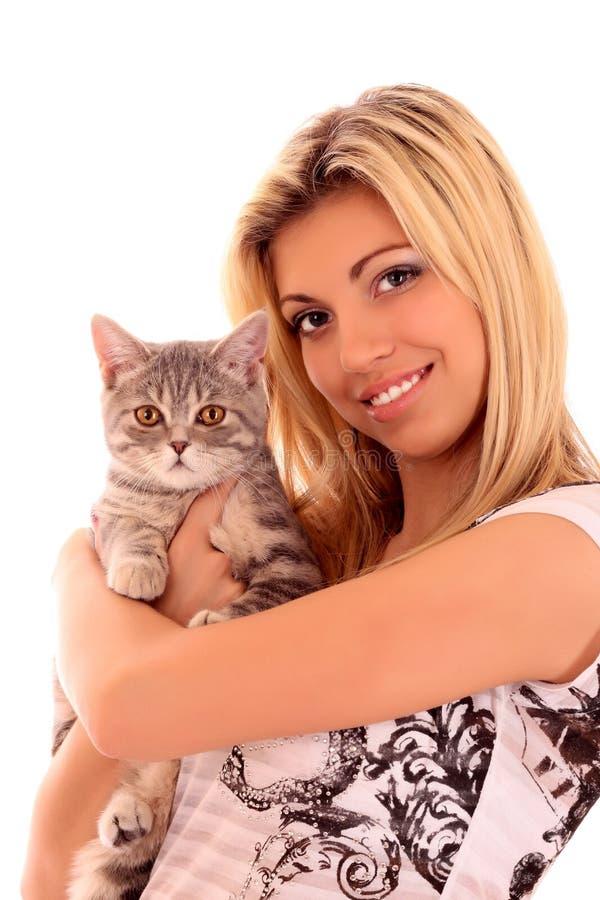 猫查出的妇女年轻人 图库摄影