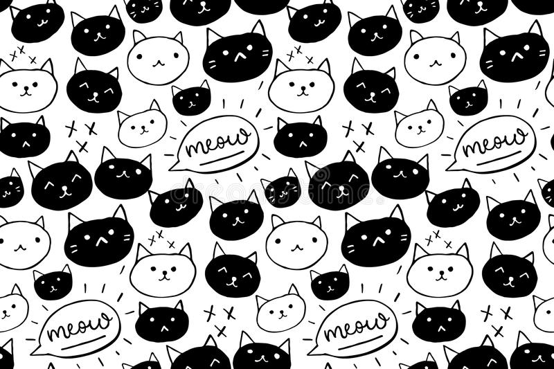 猫样式 与黑白手拉的猫和猫叫声词的无缝的背景 逗人喜爱的宠物纹理 皇族释放例证