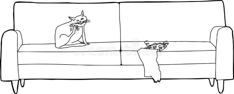 猫概述在损坏的沙发的 库存例证