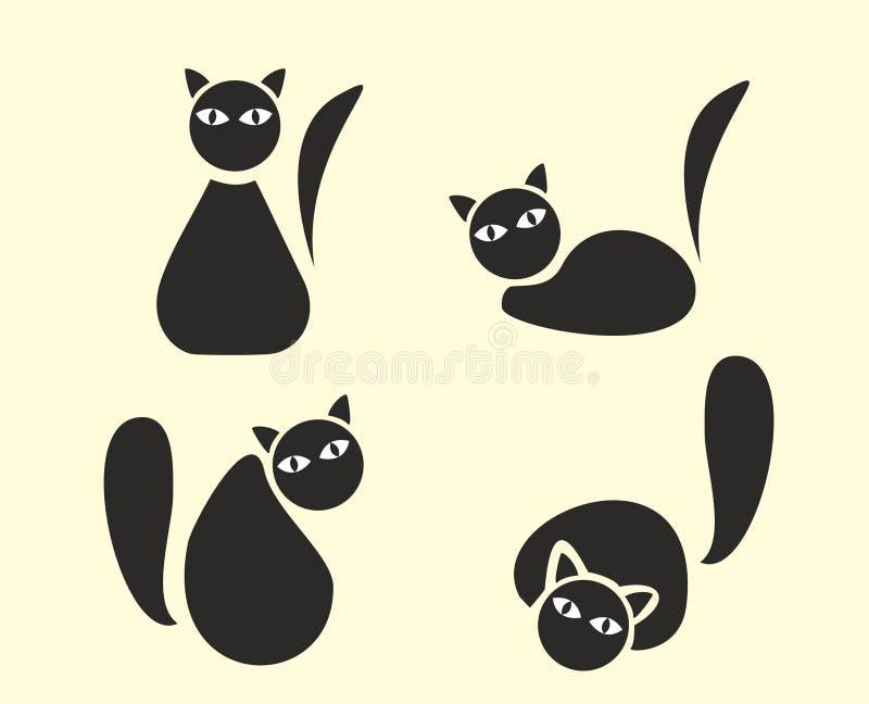 猫滑稽的剪影 库存例证