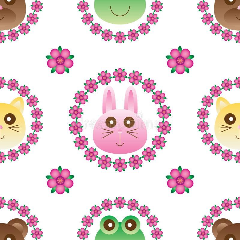猫熊兔子青蛙花诗歌选无缝的样式 向量例证