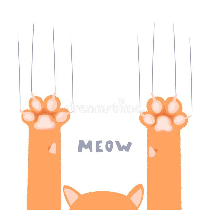 猫爪子贴墙纸,腿,狗爪子,猫背景,小猫平的设计,印刷品,动画片,逗人喜爱的偷偷地走墙纸传染媒介 向量例证