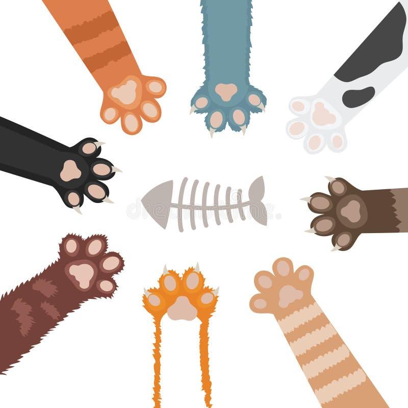 猫爪子集合动画片传染媒介例证 皇族释放例证