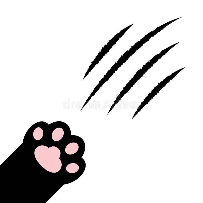 猫爪挠 Black paw print leg foot in the corner 血爪动物刮痕轨迹 可爱卡通人物体 库存例证