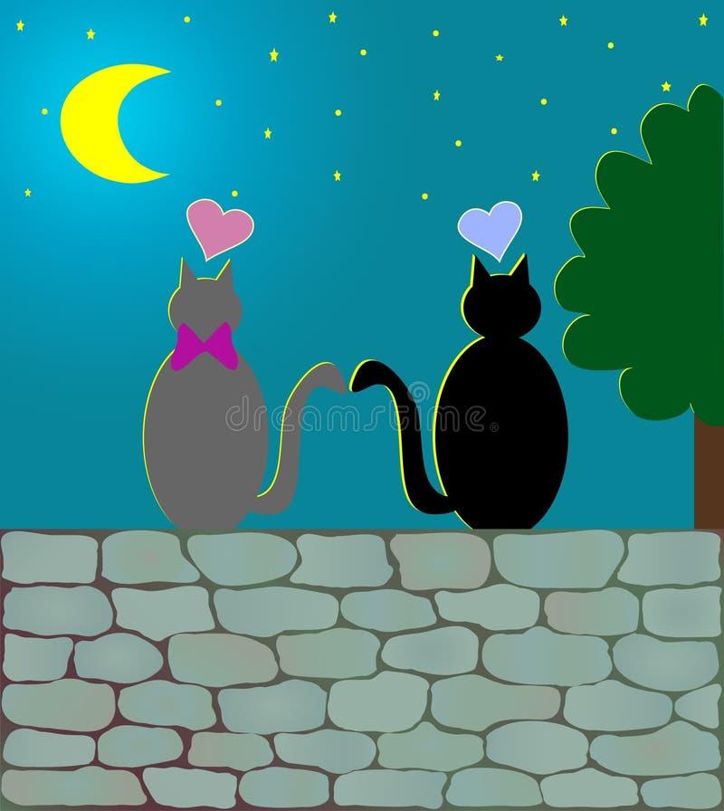 猫爱月光向量 库存例证