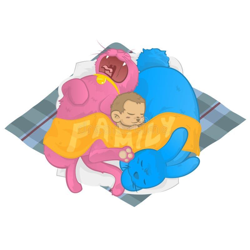 猫狗一起睡觉猴子的家庭 皇族释放例证