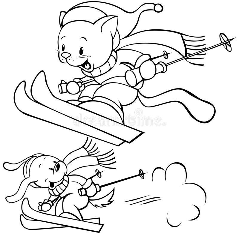 猫狗滑雪 库存例证
