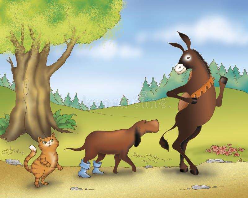 猫狗驴童话 向量例证