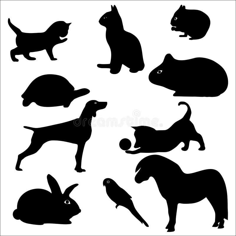 猫狗鹦鹉宠爱兔子剪影 库存例证