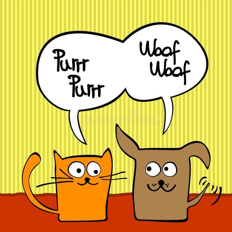 猫狗 向量例证