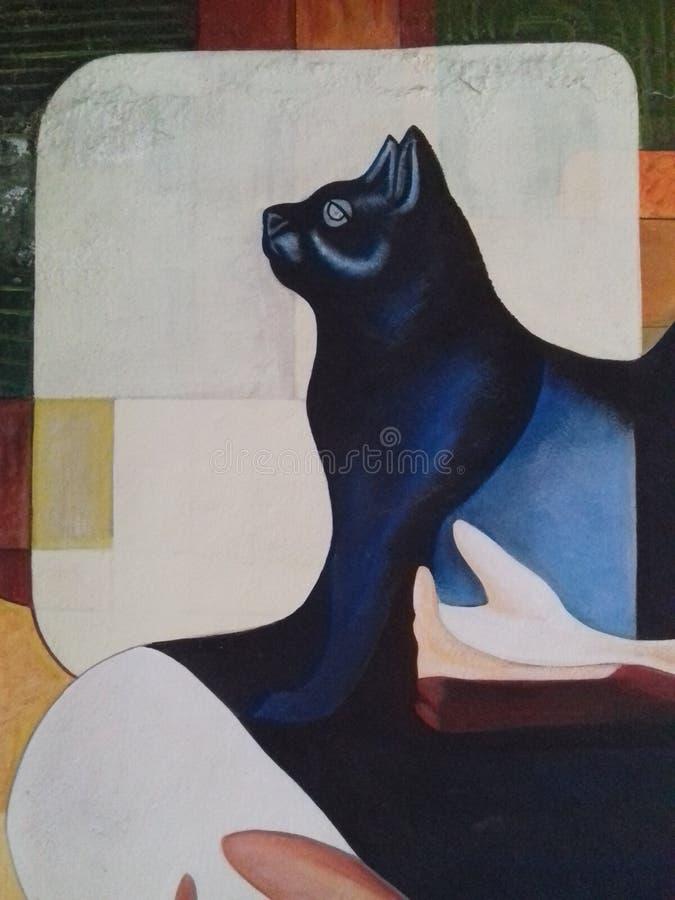 猫生活动物照片油漆墙壁 库存图片