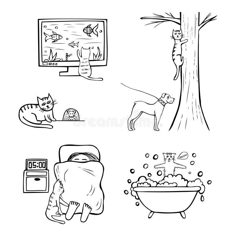 猫生活手拉的滑稽的象  向量例证