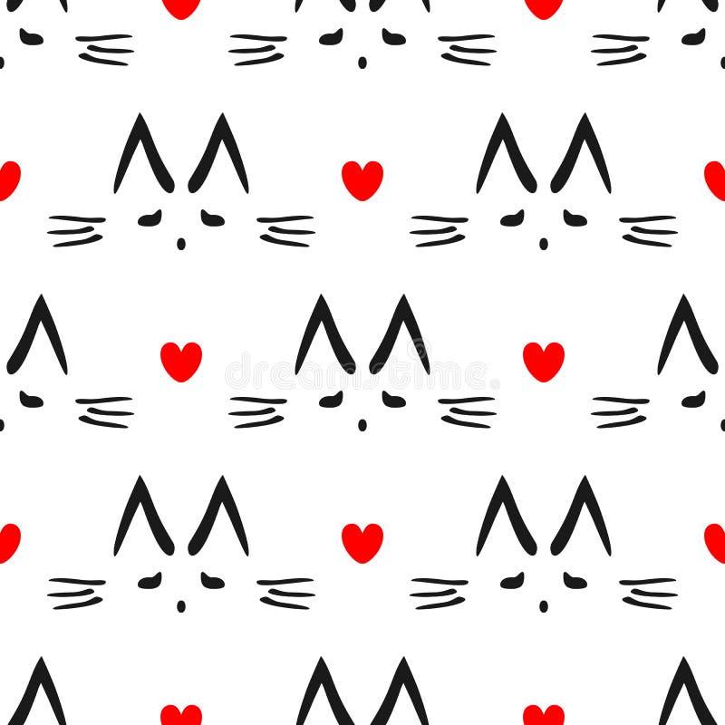 猫用手被画的` s头重复的心脏和概述  孩子的逗人喜爱的无缝的样式 库存例证