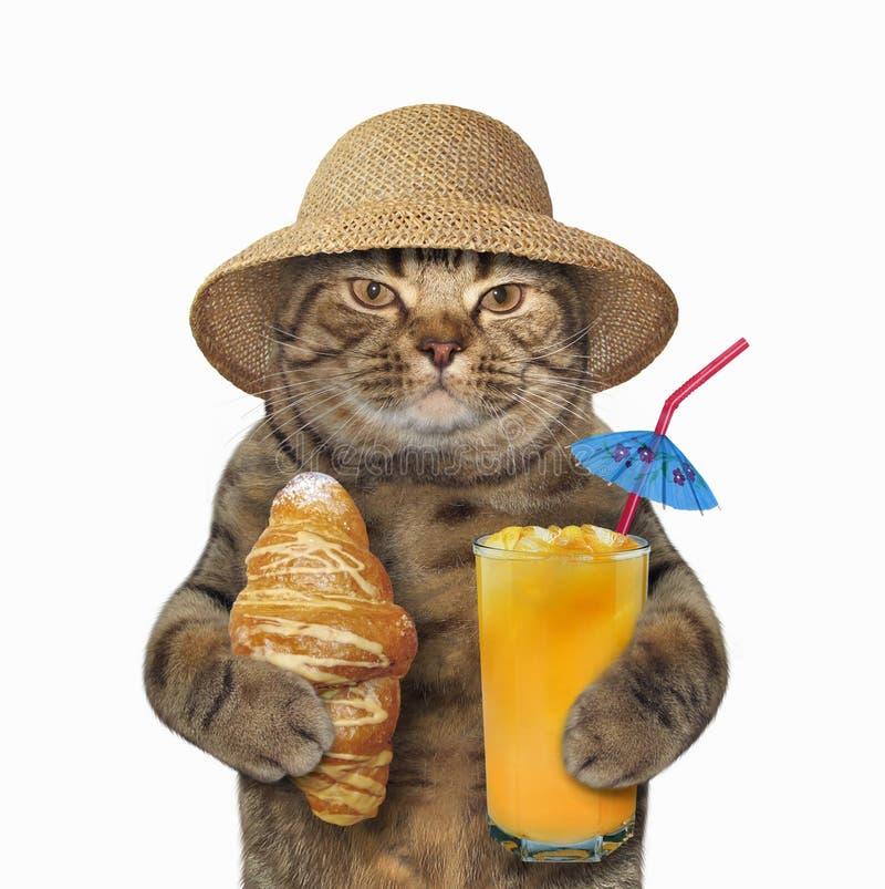猫用新月形面包和汁液 图库摄影