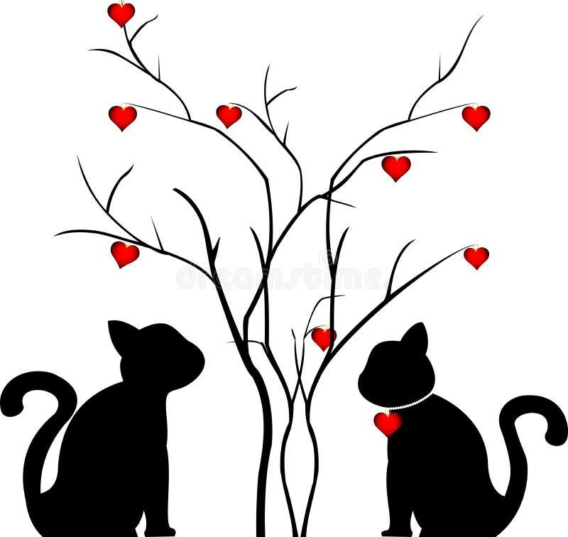猫的两个恋人剪影在爱护树木附近的,适用于明信片 皇族释放例证
