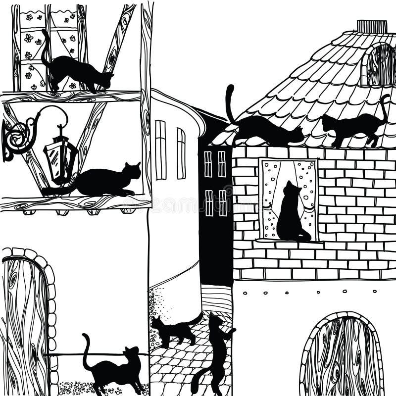猫的例证在黑白的镇里 免版税库存照片