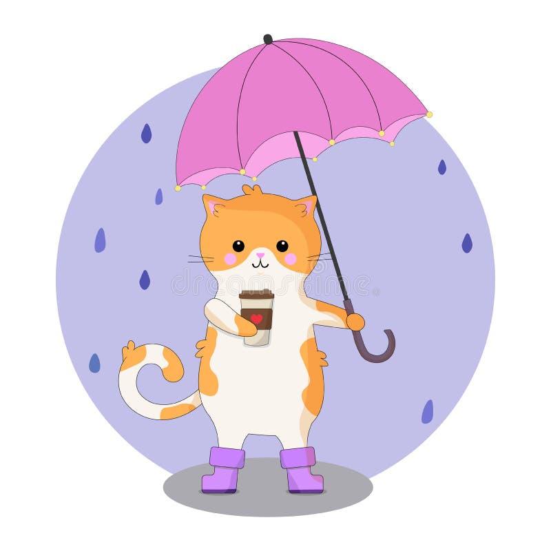 猫的美好,动画片例证用咖啡和伞 秋季例证 库存例证