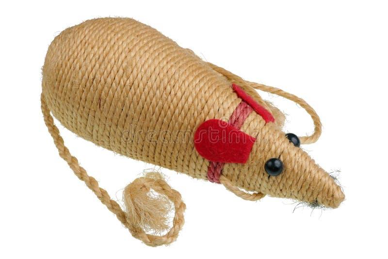 猫的自创玩具老鼠由被隔绝的黄麻绳索制成 免版税库存图片