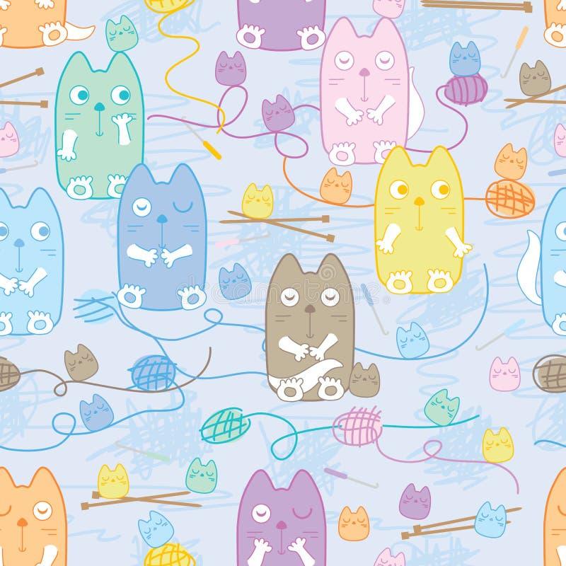 猫科毛线编织无缝的样式 向量例证