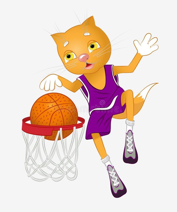 猫篮球运动员 库存例证