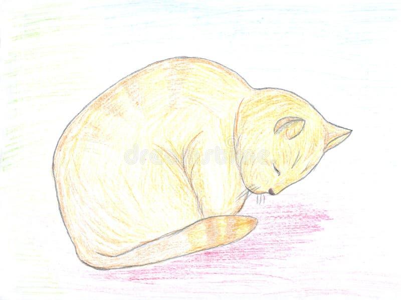 猫红头发人草图休眠 皇族释放例证