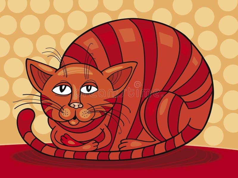 猫红色困 库存例证
