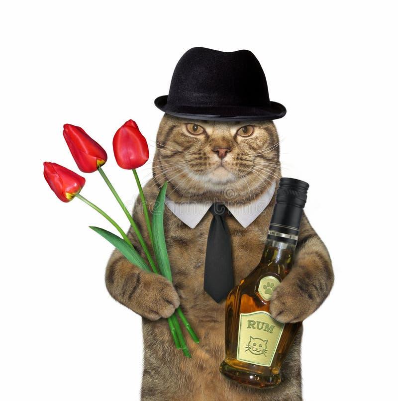 猫绅士用兰姆酒和郁金香 免版税库存图片