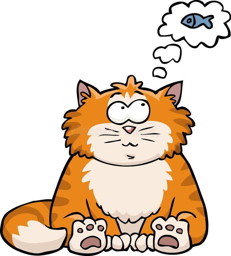 猫考虑鱼 库存例证