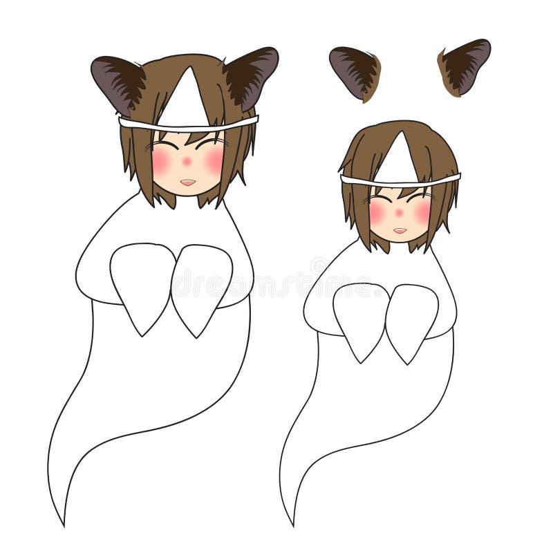 猫耳朵女孩鬼魂微笑 也corel凹道例证向量 背景查出的白色 库存例证