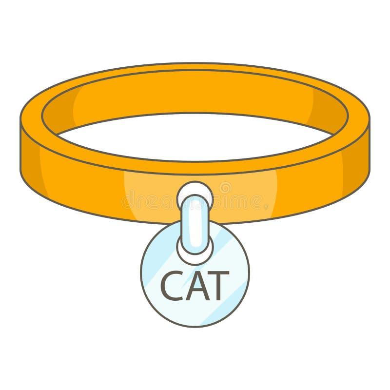 猫衣领象,动画片样式 库存例证