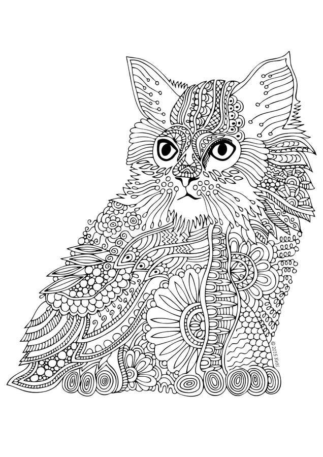 猫被画的现有量 反重音着色页的剪影 皇族释放例证