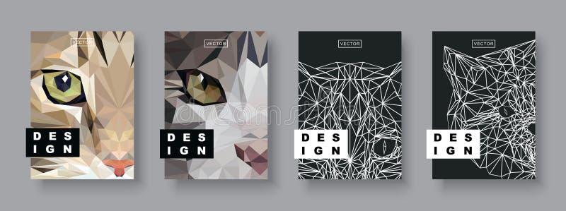 猫被设置的摘要盖子 未来海报模板 概念几何宠物 多角形中间影调 猫面孔剪影 皇族释放例证