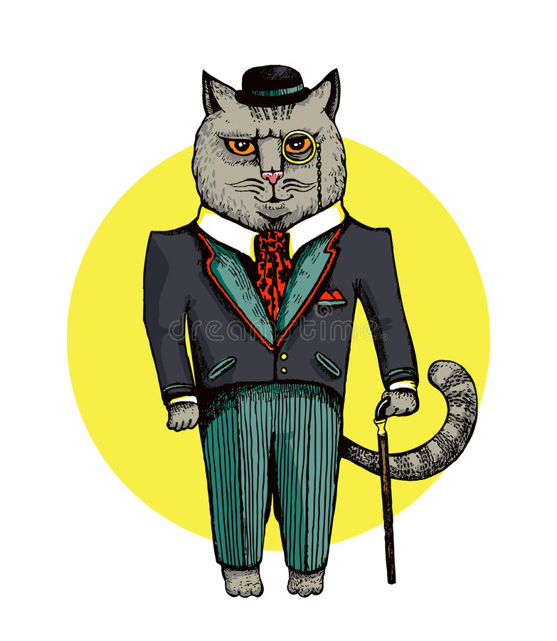 绅士猫在衣服和帽子例证穿戴了   例证  mspoint