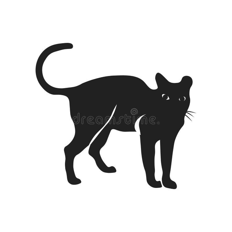 猫象在白色背景和标志隔绝的传染媒介标志,猫商标概念 库存例证