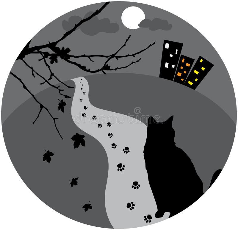 猫迷路者 向量例证