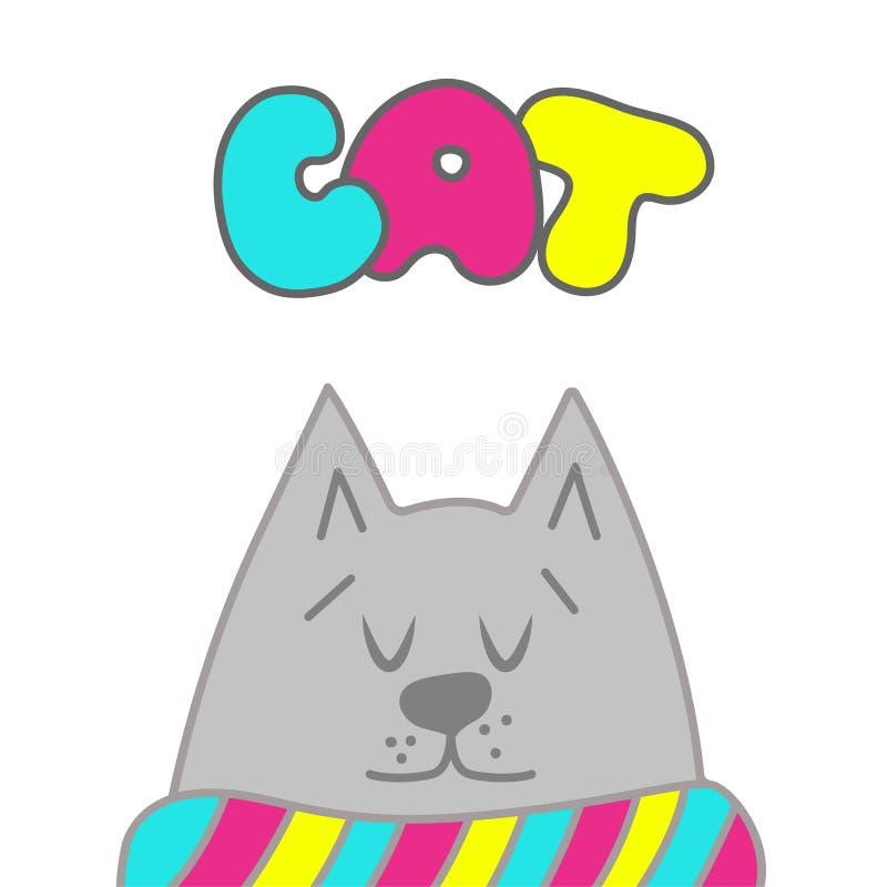 猫逗人喜爱的向量 您的设计的手拉的元素穿戴,海报,卡片, T恤杉 库存例证