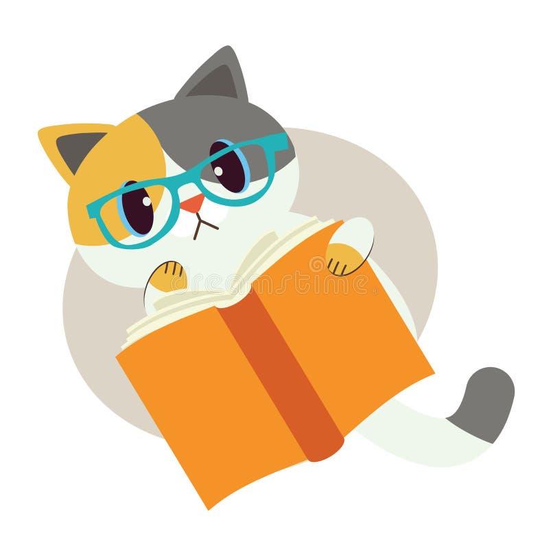 猫逗人喜爱的字符与书的 猫戴眼睛眼镜 读书的猫 猫神色混淆 由我的自已的研究 ?? 向量例证