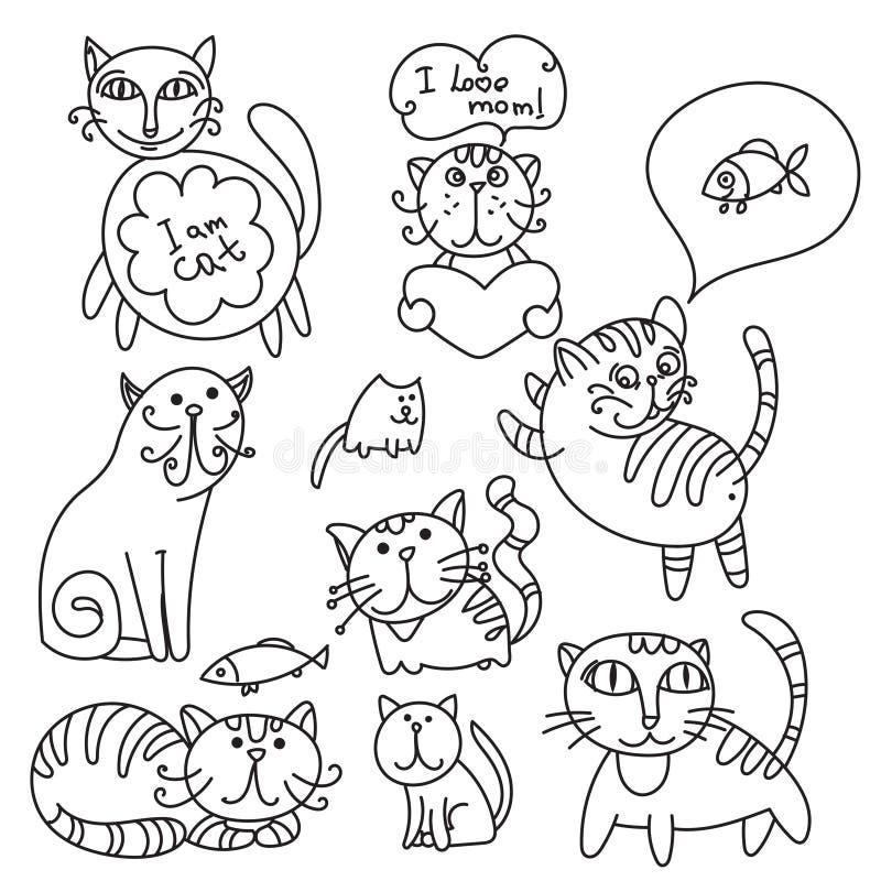 猫逗人喜爱的集 库存例证
