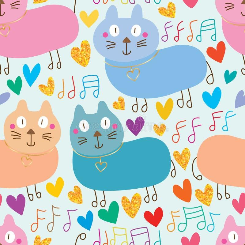 猫逗人喜爱的音乐笔记步行金子闪烁无缝的样式 库存例证