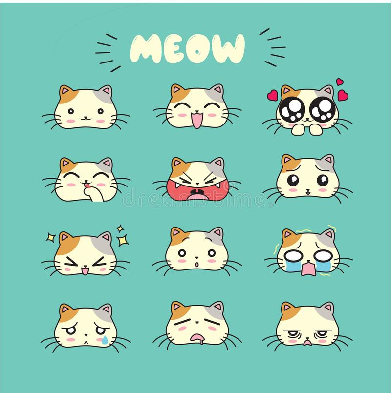猫逗人喜爱的emoji,被设置的兴高采烈的象 向量例证