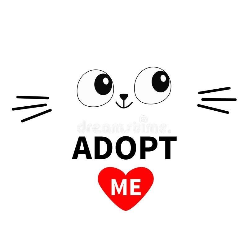 猫面孔剪影 采取我 注视髭 宠物收养 心脏 Kawaii动物 逗人喜爱的动画片全部赌注字符 滑稽的婴孩kitte 向量例证