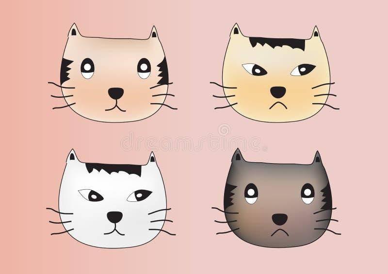 猫面孔情感传染媒介,猫象,猫科 向量例证