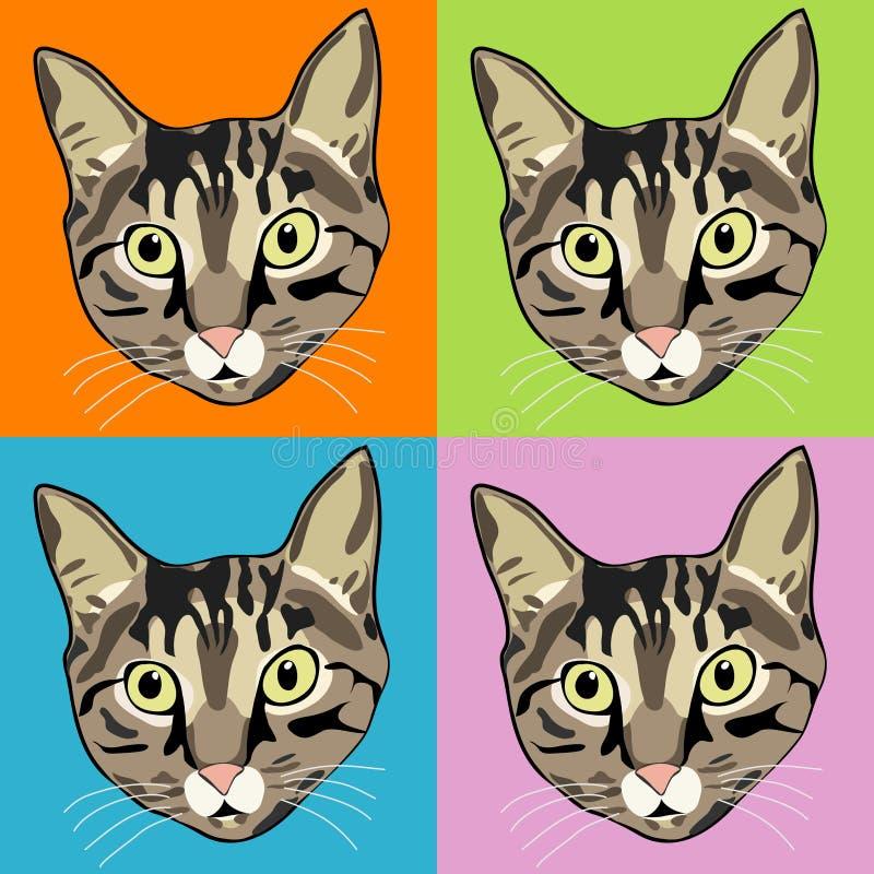 猫面对镶边平纹 皇族释放例证