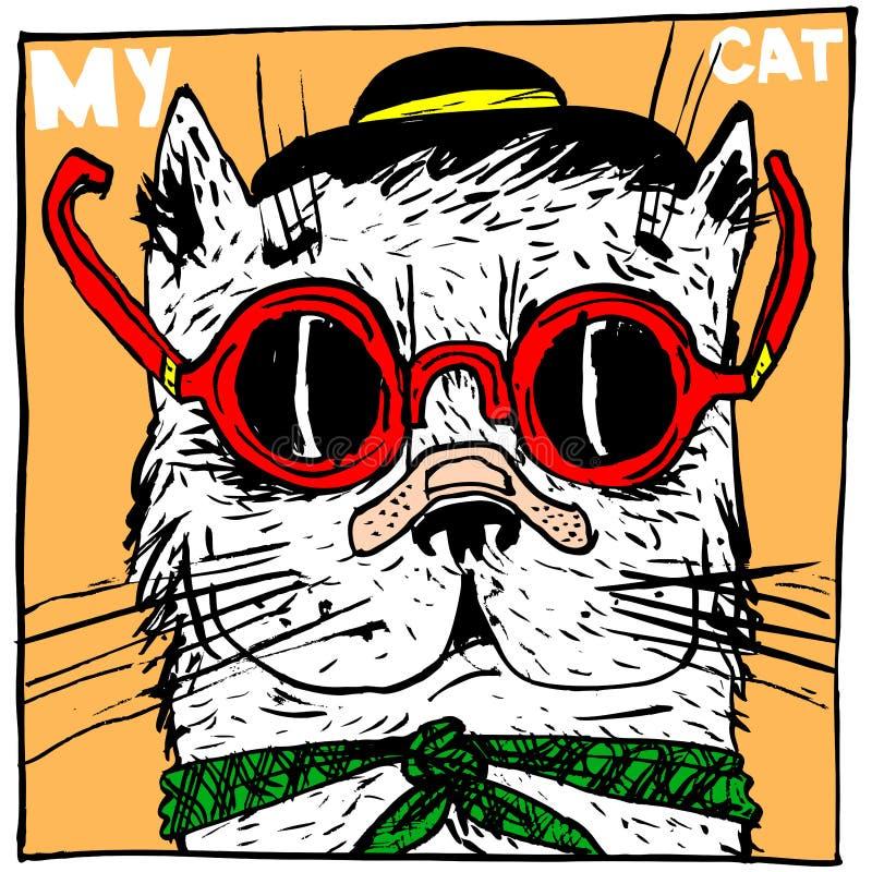 猫骗子,戴帽子和眼镜 一个印刷品的一个滑稽的图象在T恤杉、海报或者儿童物品 向量例证
