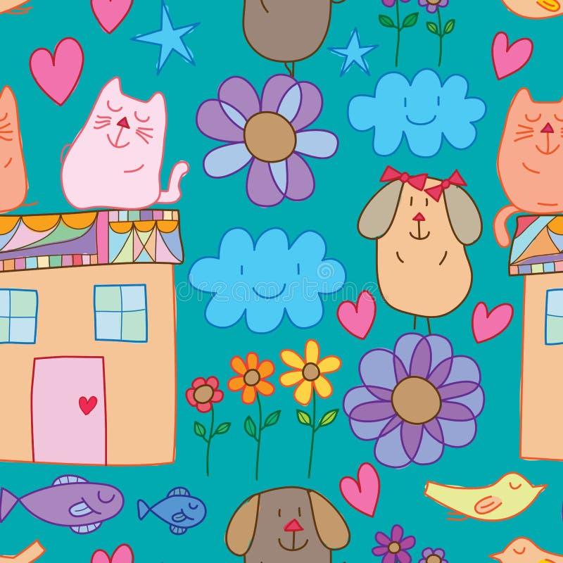 猫鳍鱼鸟花房子元素无缝的样式 向量例证