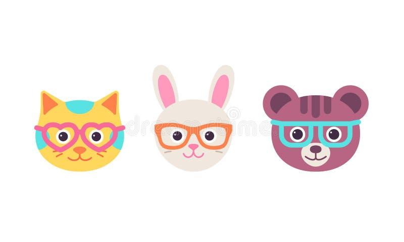 猫,兔子,与玻璃的熊面孔 传染媒介例证,平的设计 向量例证